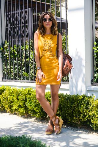 lovely pepa blogger dress shoes bag sunglasses jewels mustard