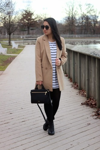 looks by lau blogger striped dress camel coat handbag black bag