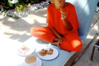 jumpsuit orange beyonce amazing blouse and