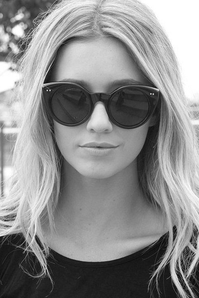sunglasses girl blonde hair cat eye