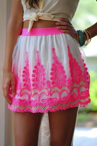 skirt pink skirt hot pink skirt pink lace skirt hot pink