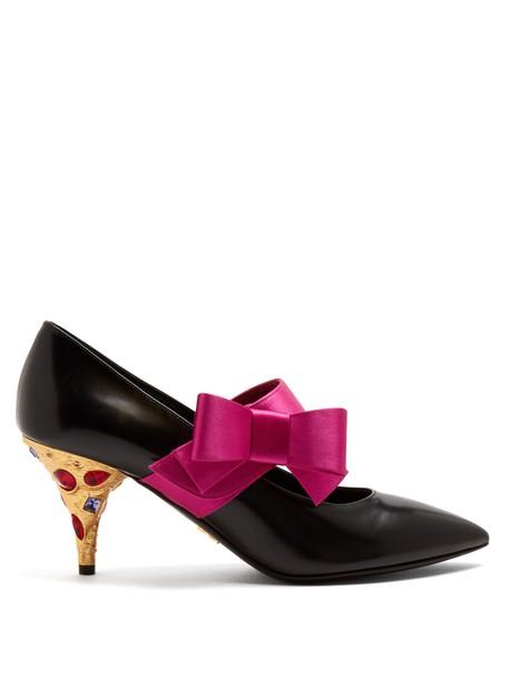 Prada bow embellished pumps leather black shoes