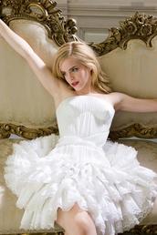 dress,lace,white,corset top,ballgown skirt,ruffle