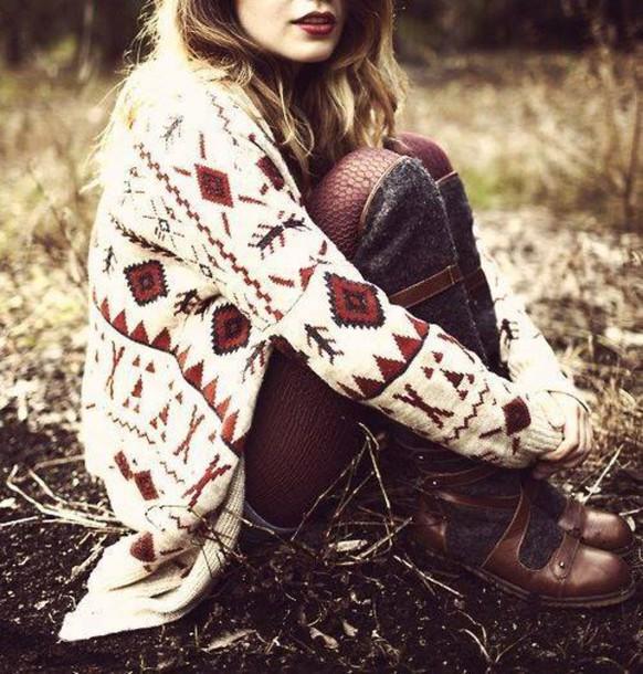 cardigan aztec boots knit knitwear lipstick tights leggings shoes aztec sweater knitwear knitted cardigan tribal cardigan