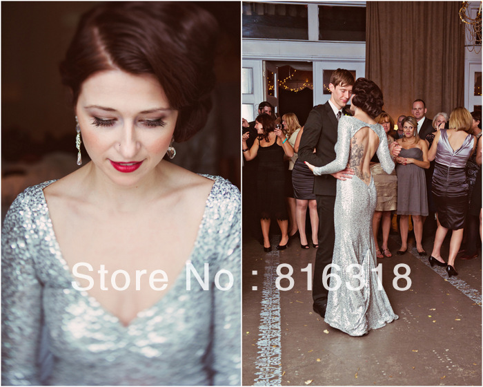 Vestidos Formales Silver Sequin Dress Long Sleeve Backless Sequin Dress Long Sleeves Evening Gowns Dresses Vestidos De Festa-in Evening Dresses from Apparel & Accessories on Aliexpress.com