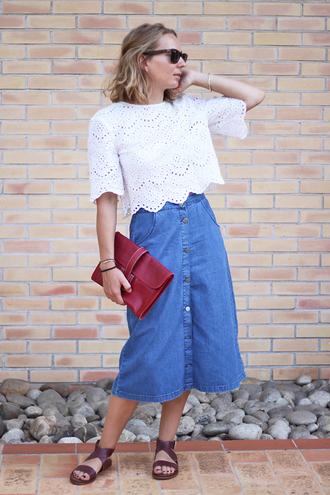 jane's sneak peak blogger crochet top white top denim skirt button up skirt