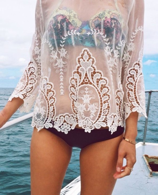 swimwear bikini black colorful colorful white top shirt beach top lace water ocean boat floral tank top blouse cover up beachwear cover up white blouse see through beach summer spring rose vintage hipster girly bralette bralette bustier crop lace top summer top white lace top