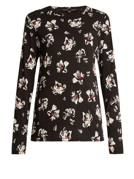 Proenza Schouler top long floral cotton print white black