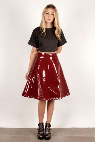Oxblood Patent A Line PVC Midi Skirt *As Seen in Star Magazine* - from Lavish Alice UK