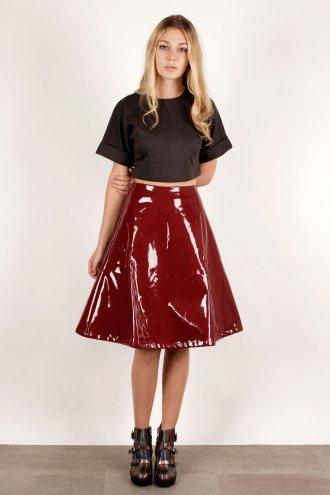 Oxblood Patent A Line PVC Midi Skirt *As Seen in Star Magazine* - from Lavish Alice UK
