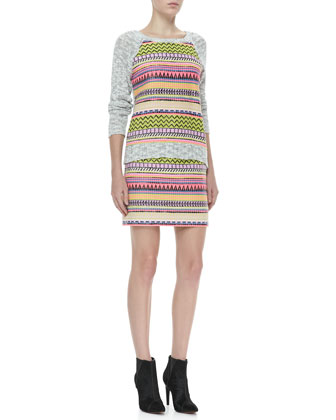 Milly Couture Raffia Sweatshirt & Mini Pencil Skirt - Neiman Marcus