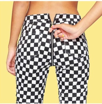 jeans girly tumblr checkered checkered pants zip zipped pants