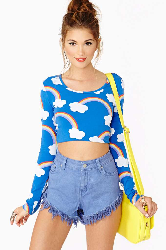 NG X Lazy Oaf Rainbows Crop Top  in  at Nasty Gal