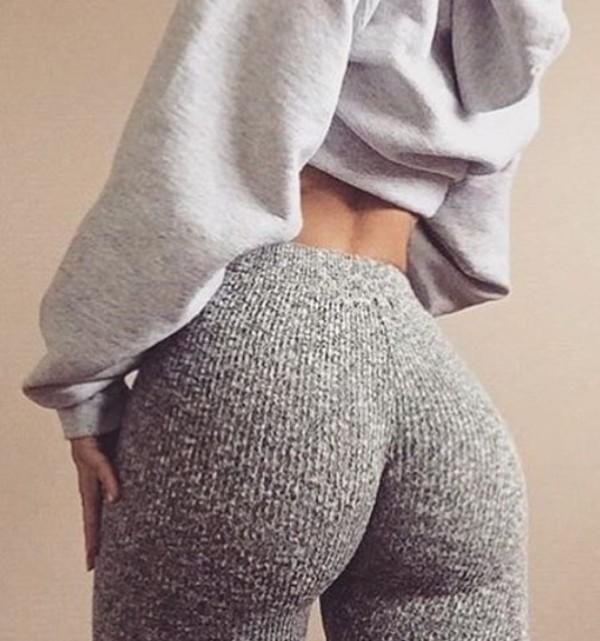 Leggings Grey Leggings Texture Chic Fashion Style Instagram Tumblr - Wheretoget