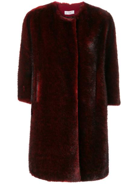 Alberto Biani coat fur faux fur women wool red