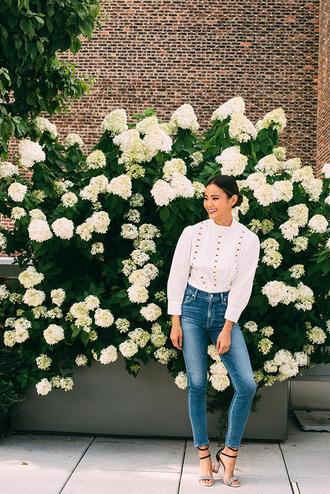 blouse jeans sandals sandal heels jamie chung blogger