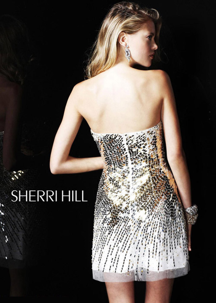 Sherri Hill 2771 Strapless Nude/Silver Prom Dress [Sherri Hill 2771] - $171.50 : Shop Cheap Prom/Homecoming Dress 2014 on Darlingprom