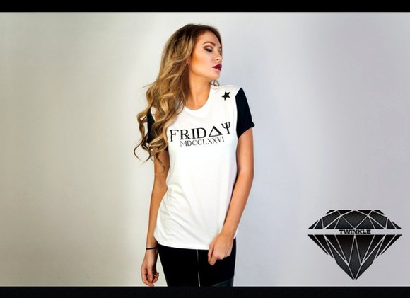 stars star t-shirt friday white black sleeve twinkle