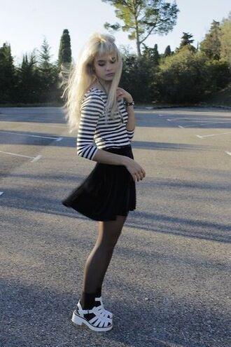 shirt grunge punk punk rock stripes striped shirt long sleeves black and white