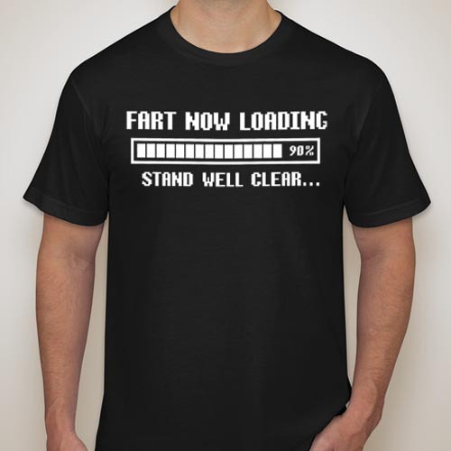 Fart Loading Mens Retro slogan Black Gift T-Shirt Funny Sz S - XXL