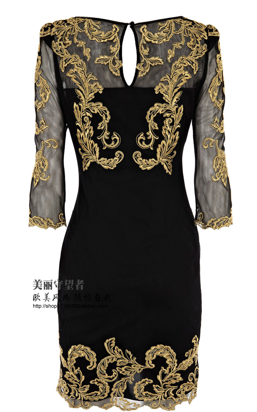 Women Dress Metallic Gold Lace Embroidered Baroque Mesh Dress Three Quarter Sleeve Dress Free shipping Plus Sizes s m l xl xxl-in Dresses from Apparel & Accessories on Aliexpress.com
