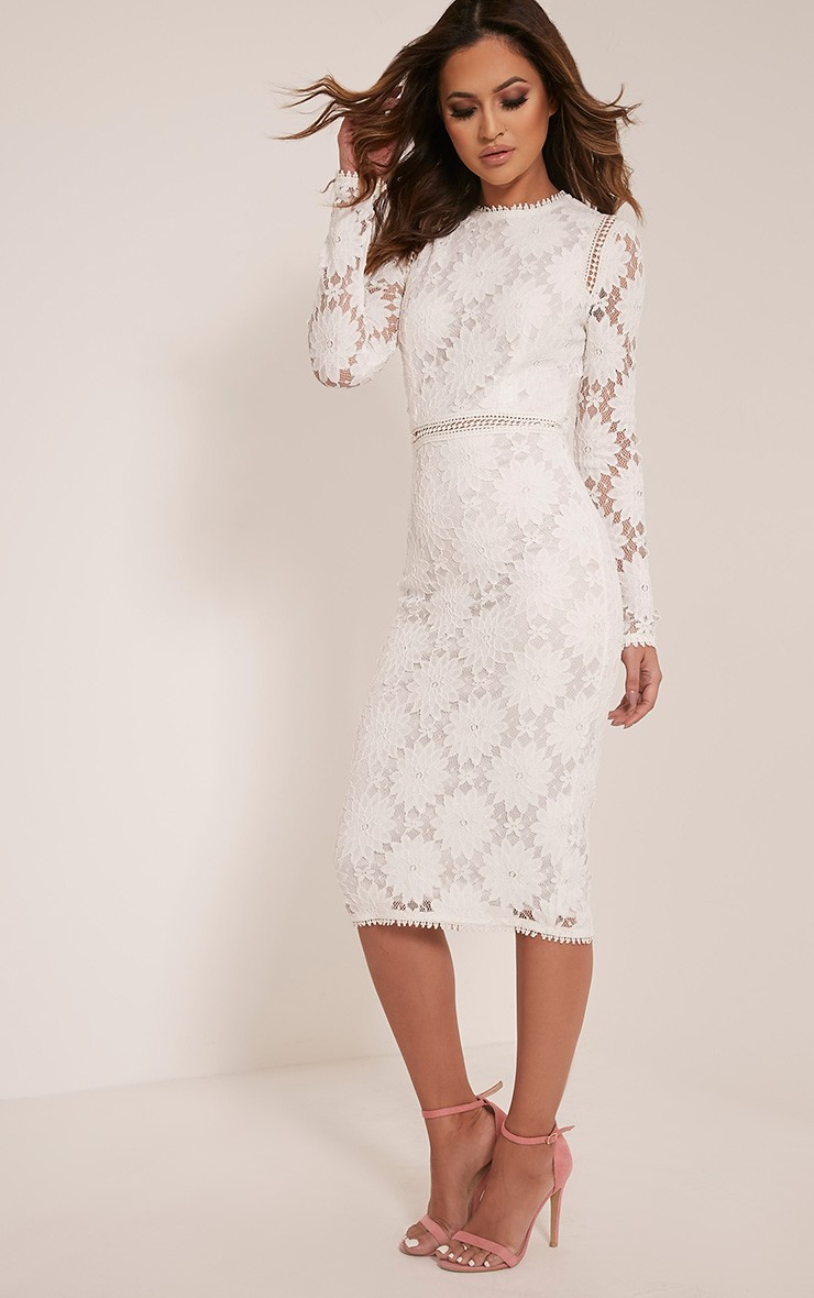 8924b07f9497 Caris White Long Sleeve Lace Bodycon Dress