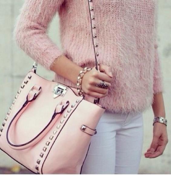 Valentino studs bag rockstud spikes vintage pink