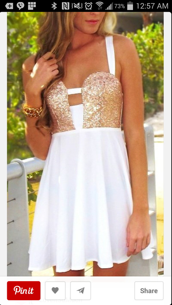 dress homecoming homecoming dress homecoming dress sequins gold squins white gold gold and white gold and white dress elegant short dress short