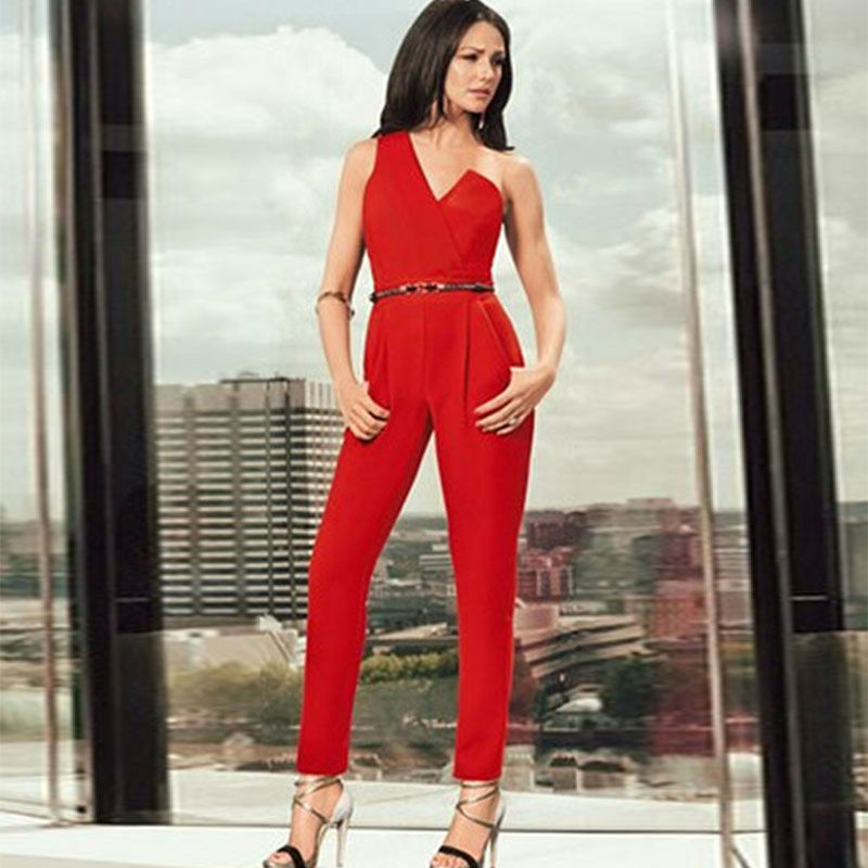 Shipping Summer Red Brief One Shoulder Belted Jumpsuit Sleeveless ...