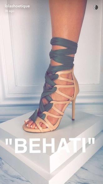 shoes behati heels tan green summer behati prinsloo high heels olive green green high heels gladiators nude nude heels cute high heel sandals beige strappy heels nude sandals
