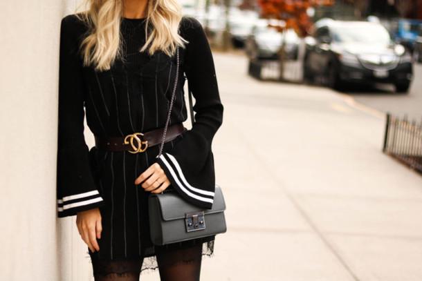a9b5743dd miss lyle style blogger bag shirt jeans jacket gucci gucci belt black dress  mini dress shoulder