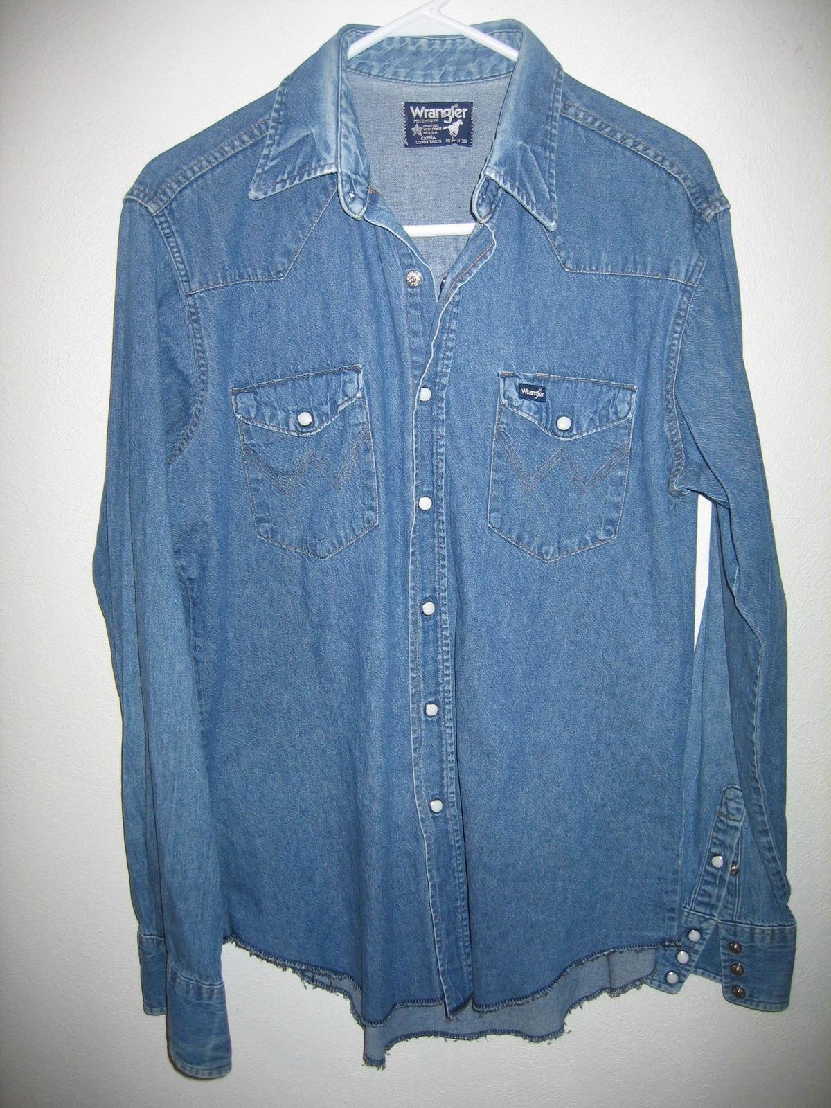 9846f9028aa Vintage Wrangler Denim Western Snaps Blue Cowboy Shirt Mens ...