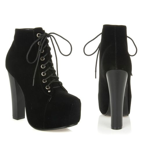 New Womens High Heel Lace Up Hidden Platform Ankle Bootie Boot Jordon 03 Black | eBay
