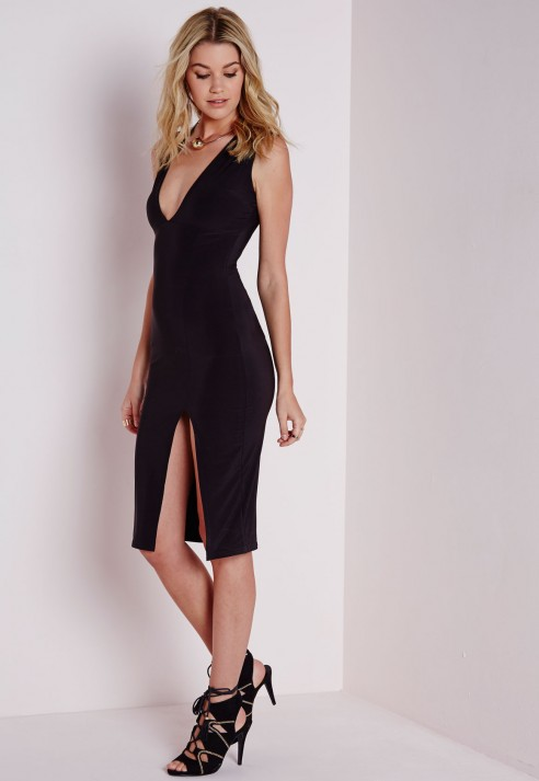 Sleeveless Side Split Midi Dress Black - Dresses - Midi Dresses ...