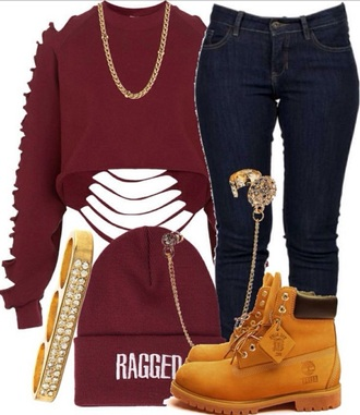 shirt hel shoes hat phone cover jewels sweater ripped disressed red burgundy long sleeve sweater long sleeves distressed sleeves cute edgy so cute cropped sweater maroon cropped sweater