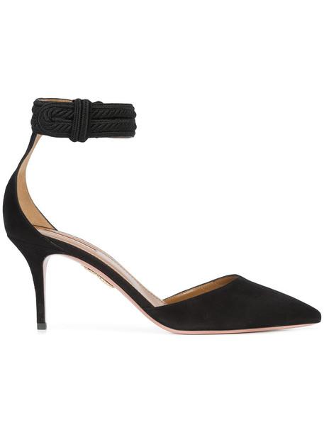 Aquazzura strappy women pumps leather black shoes