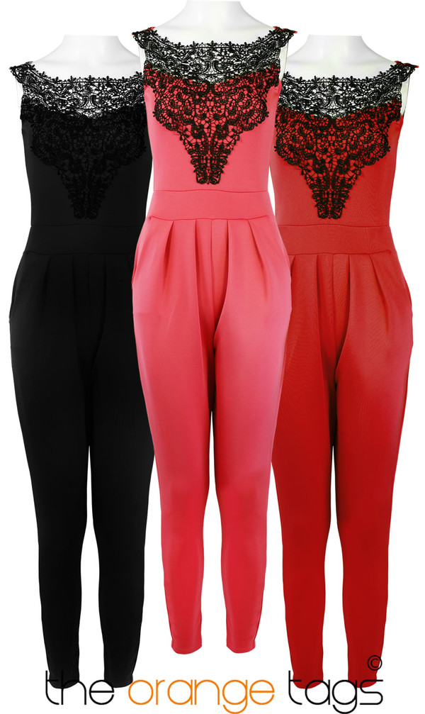 dress ladies lace women lace neck pants jumpsuit romper smart elegant coral red black all in one celebrity lovely