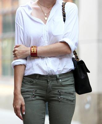 brooklyn blonde jeans jewels blouse bag leather bracelet