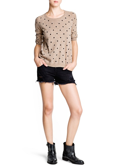 MANGO - CLOTHING - Polka-dot angora sweater