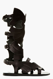 shoes,sandals,gladiators,carven,black leather,leather,black,greek sandals