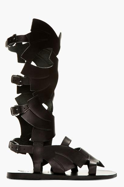 shoes sandals gladiators gladiators carven black leather leather black greek sandals