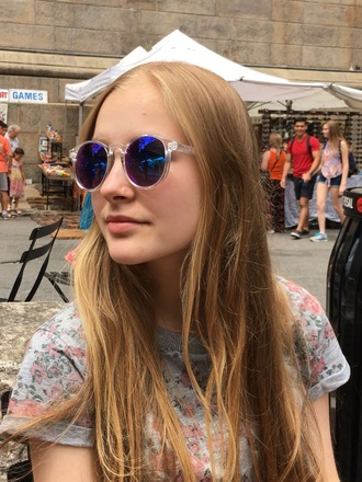 sunglasses clear purple reflective retro vintage wayfarer blue