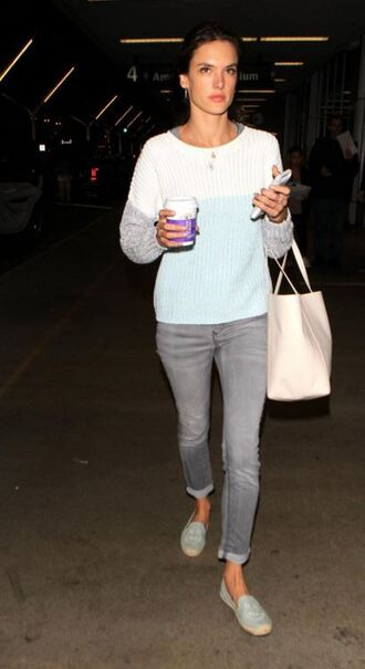 sweater flats espadrilles alessandra ambrosio jeans shoes