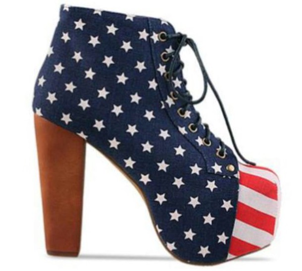 shoes high heels american flag red blue