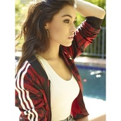sweater,jacket,red,stripes,sportswear,madison beer,adidas originals,tracksuit,flowers,women