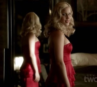 vampirediariesstyle evening dress red dress red claire holt rebekah the vampire diaries