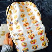 backpack,emoji print,emoji book bag,bookbag,school bag,cool,white backpack,bag,emotions,instagram,vogue crop tops,emojis backpack,back to school,style,a white emoji backpack,tumblr
