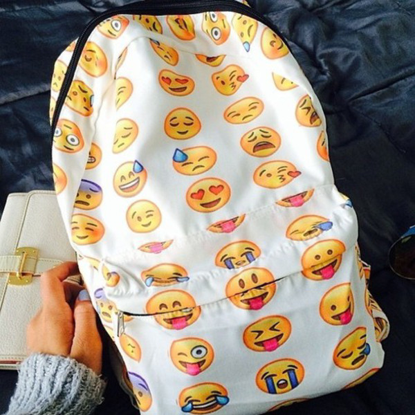 backpack emoji print emoji book bag bookbag school bag cool white backpack bag emoji print emotions emoji print instagram inblack vogue crop tops emojis backpack back to school style a white emoji backpack