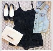 dress,romper,ballet flats,denim jacket,studs,jumpsuit,black romper,black,polka dots