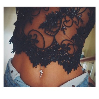 top black crop top lace lace top jewelled sequins black sexy belly piercing jeans skinny see through transparent transparent shirt blac glitter gorg